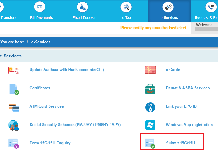 form 15g sbi bank login
