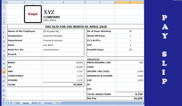 sample payslip format in excel,simple salary slip format in excel