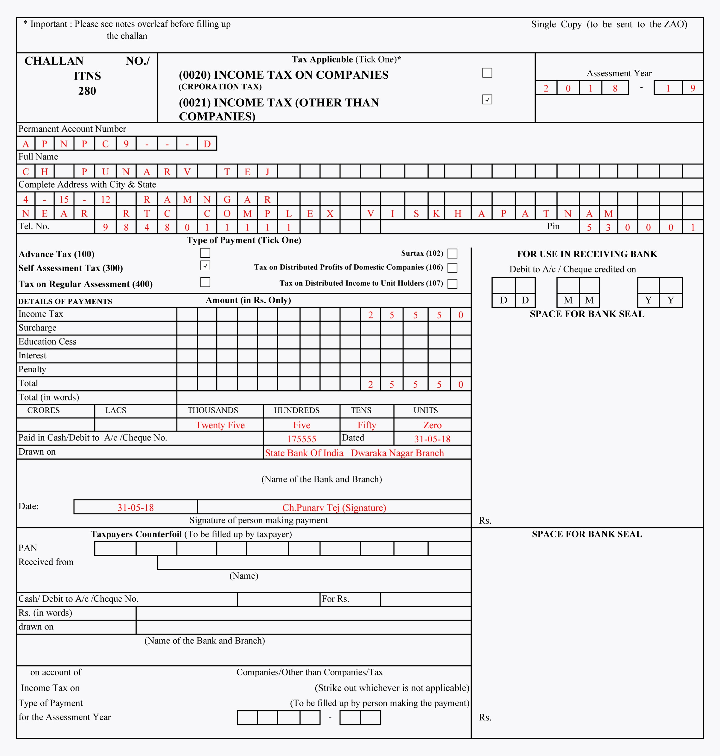 Sample Filled Challan 280 | TDS Challan 280 Excel Format