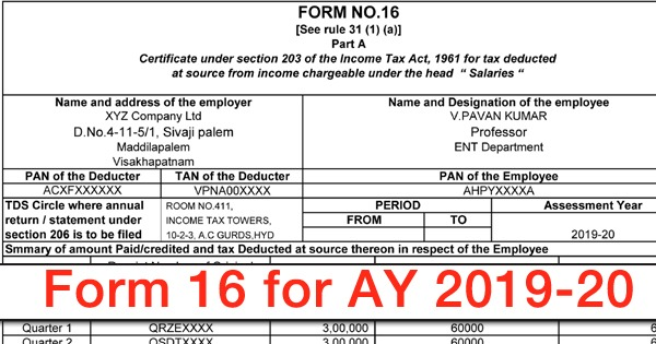 Form 16 In Excel Format For AY 2020-21 With Automatic Caluculations