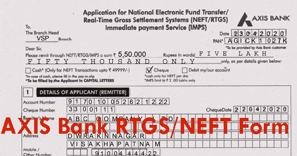 axis bank rtgs application form format