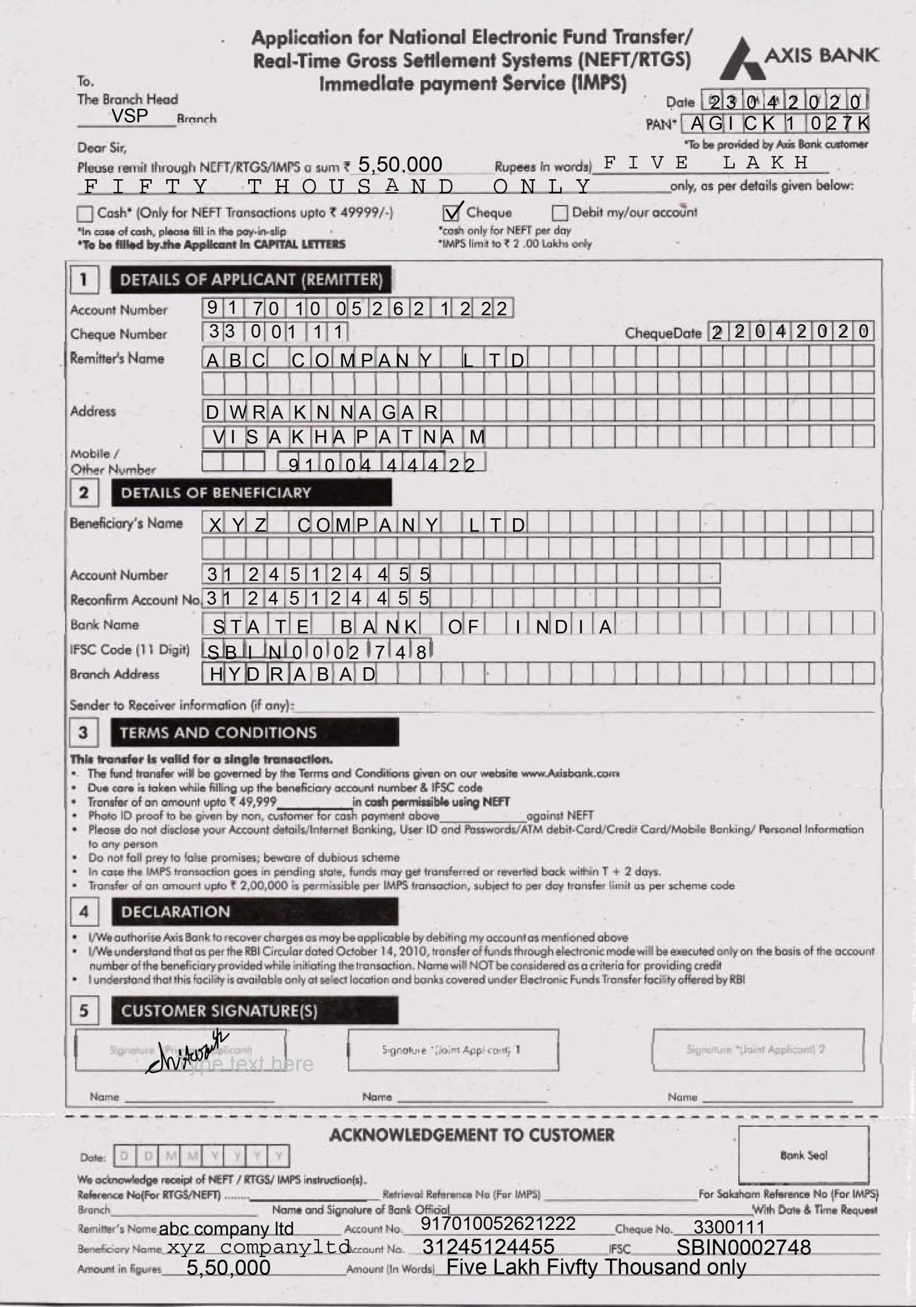 rtgs neft application form axis bank fill