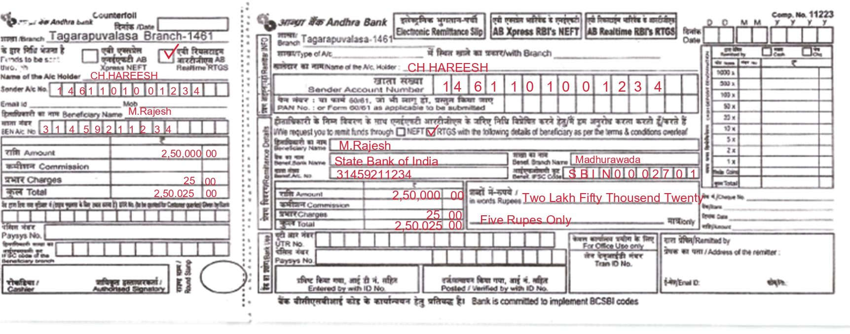 rtgs application form andhra bank